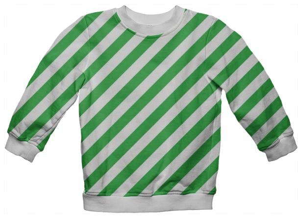 Green White Stripe Sweatshirt