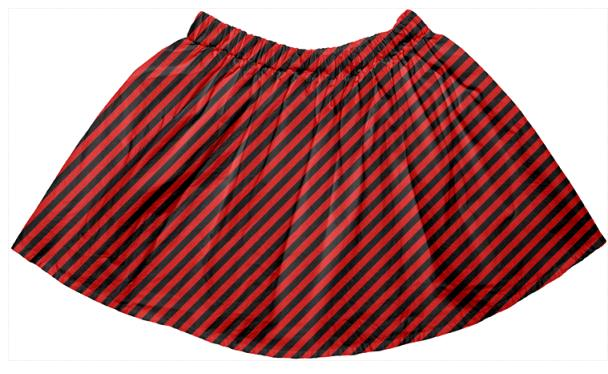 Black Red Small Stripe Full Skirt
