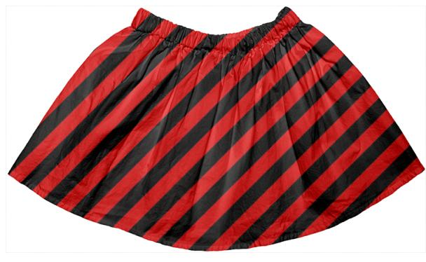 Black Red Stripe Full Skirt