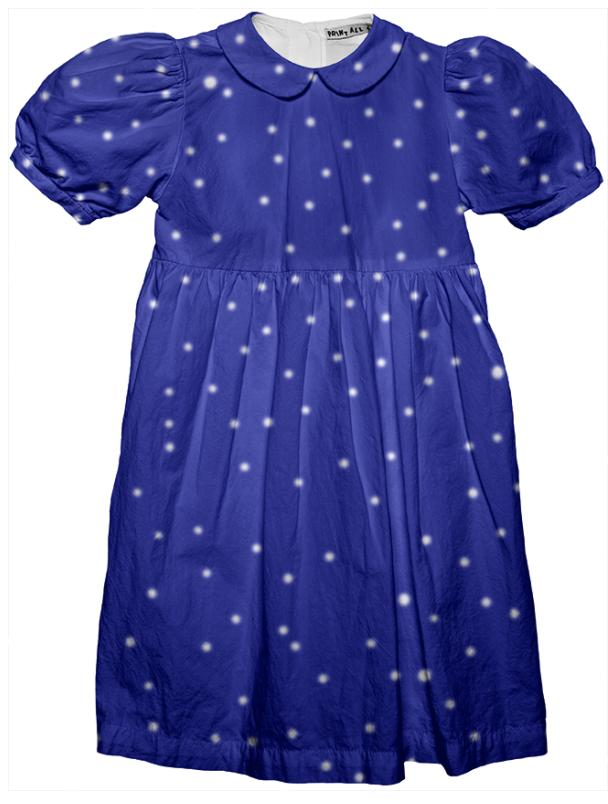 Blue White Dot Party Dress