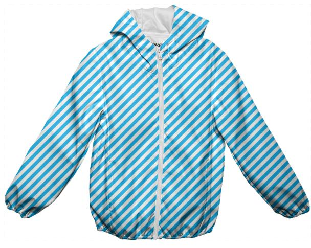 Blue White Small Stripe Rain Jacket