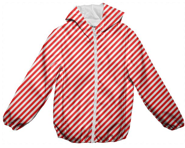 PAOM, Print All Over Me, digital print, design, fashion, style, collaboration, paomkids, Kids Rain Jacket, Kids-Rain-Jacket, KidsRainJacket, Red, White, Small, Stripe, autumn winter spring summer, unisex, Poly, Kids