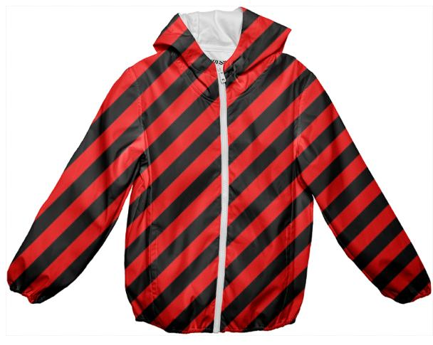 Black Red Stripe Rain Jacket