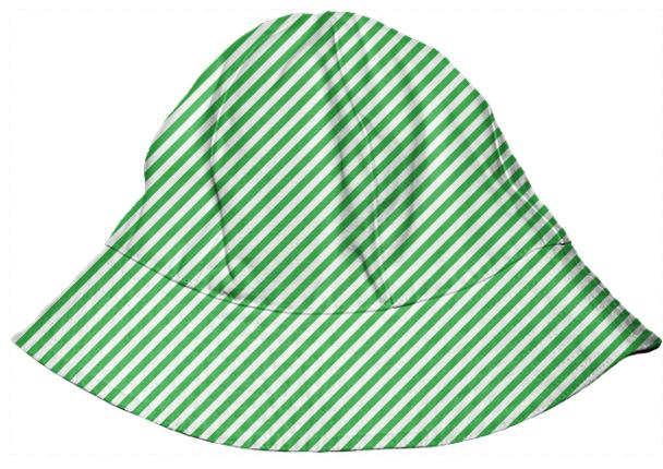 Green White Small Stripe Bucket Hat