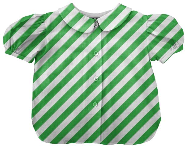 Large Green Stripe Kids Blouse