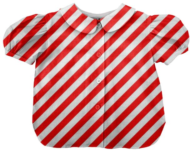 Large Red Stripe Kids Blouse