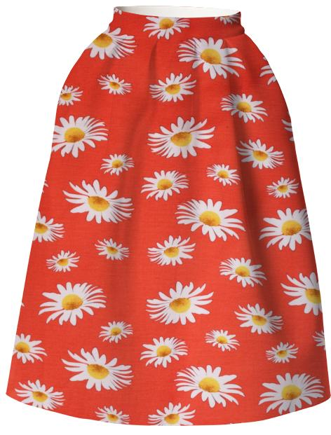 Daisy Red Neoprene Skirt