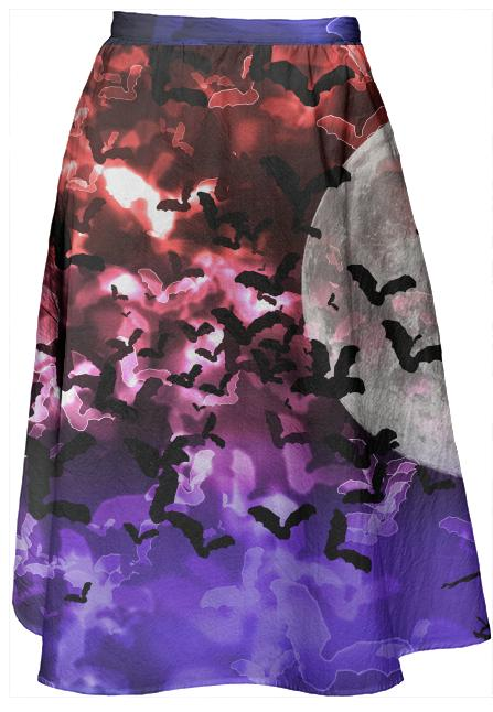 Bokeh Bats in Moonlight Midi Skirt