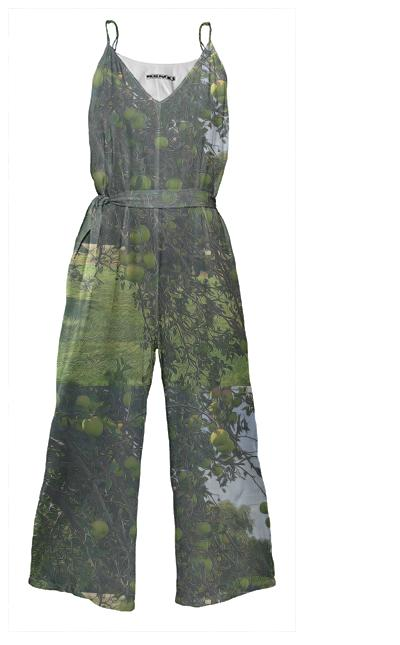 Apple Tree Tie Waist Jump Suit