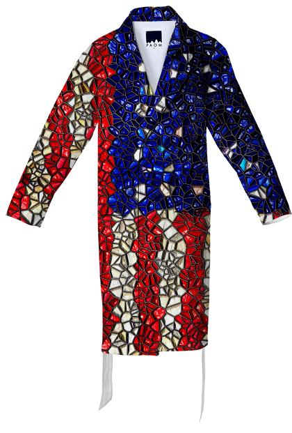 American Flag Mosaic Cotton Robe