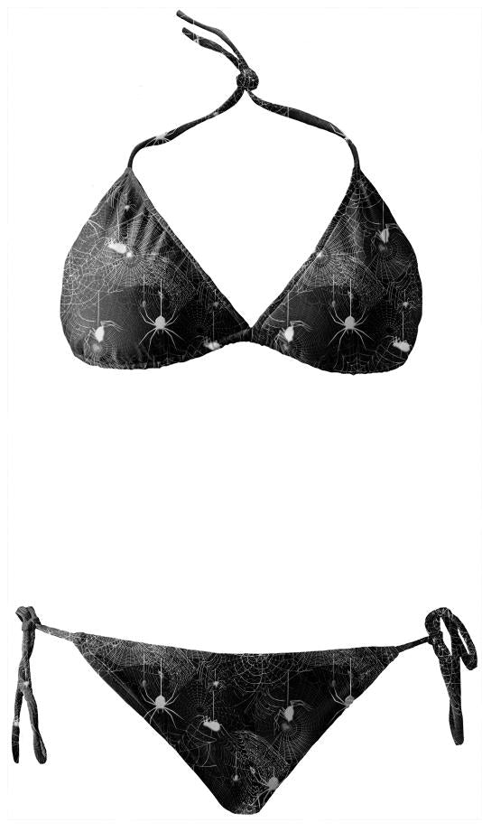Black and White Spider Webs Bikini