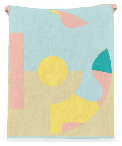 Yellow dot beach throw