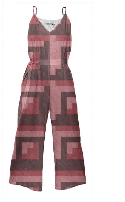 Red Brick Pixel Jumpsuit