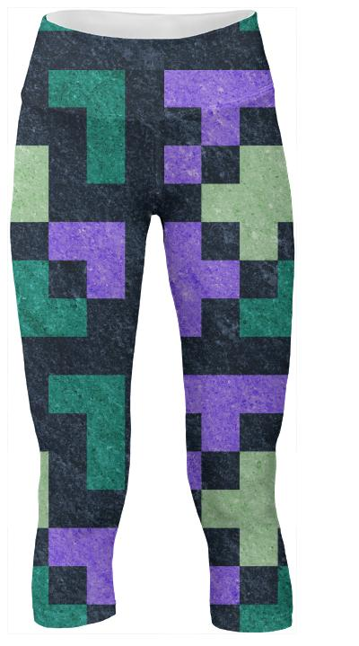 Violet Green Pixel Brick Yoga Pants