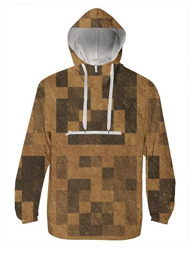 Wood Pixel Block Windbreaker