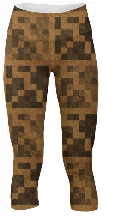 Wood Pixel Block Yoga Pants
