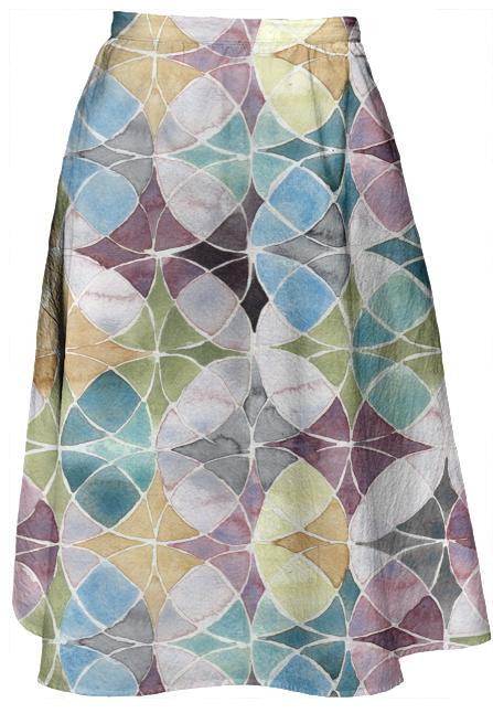 Watercolor Geo Ladylike Skirt