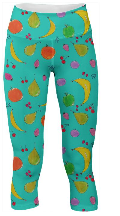 Blue Fruits Yoga Pants