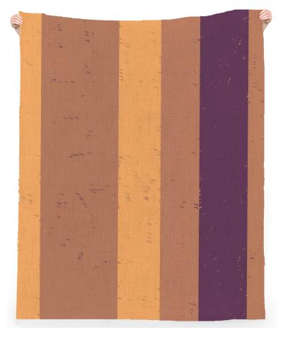 Random Wide Apricot Yellow and Purple Flecked Stripes Linen Beach Towel