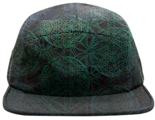 Bluegreen Flower of Life Hexagons Hat