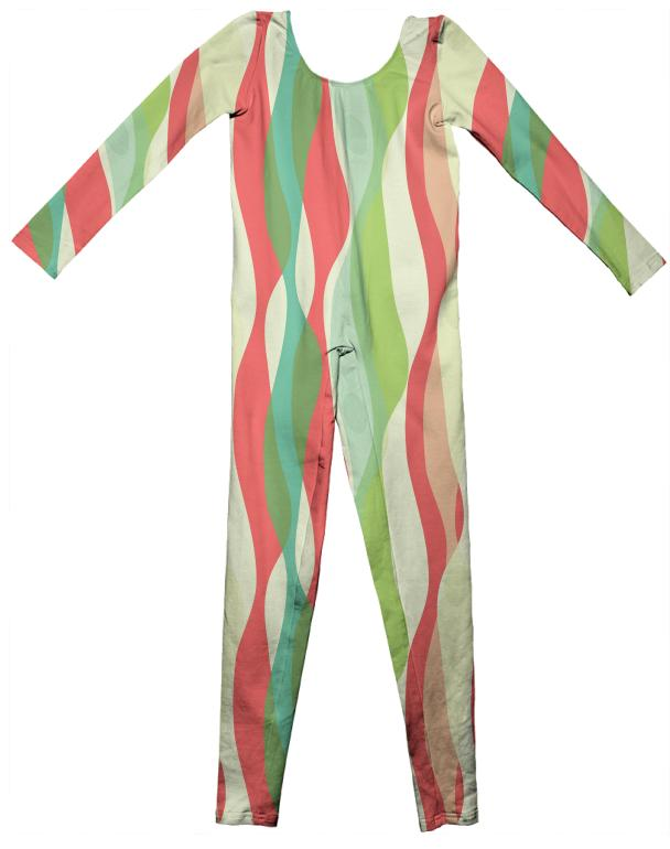 Red Green Wave Unitard