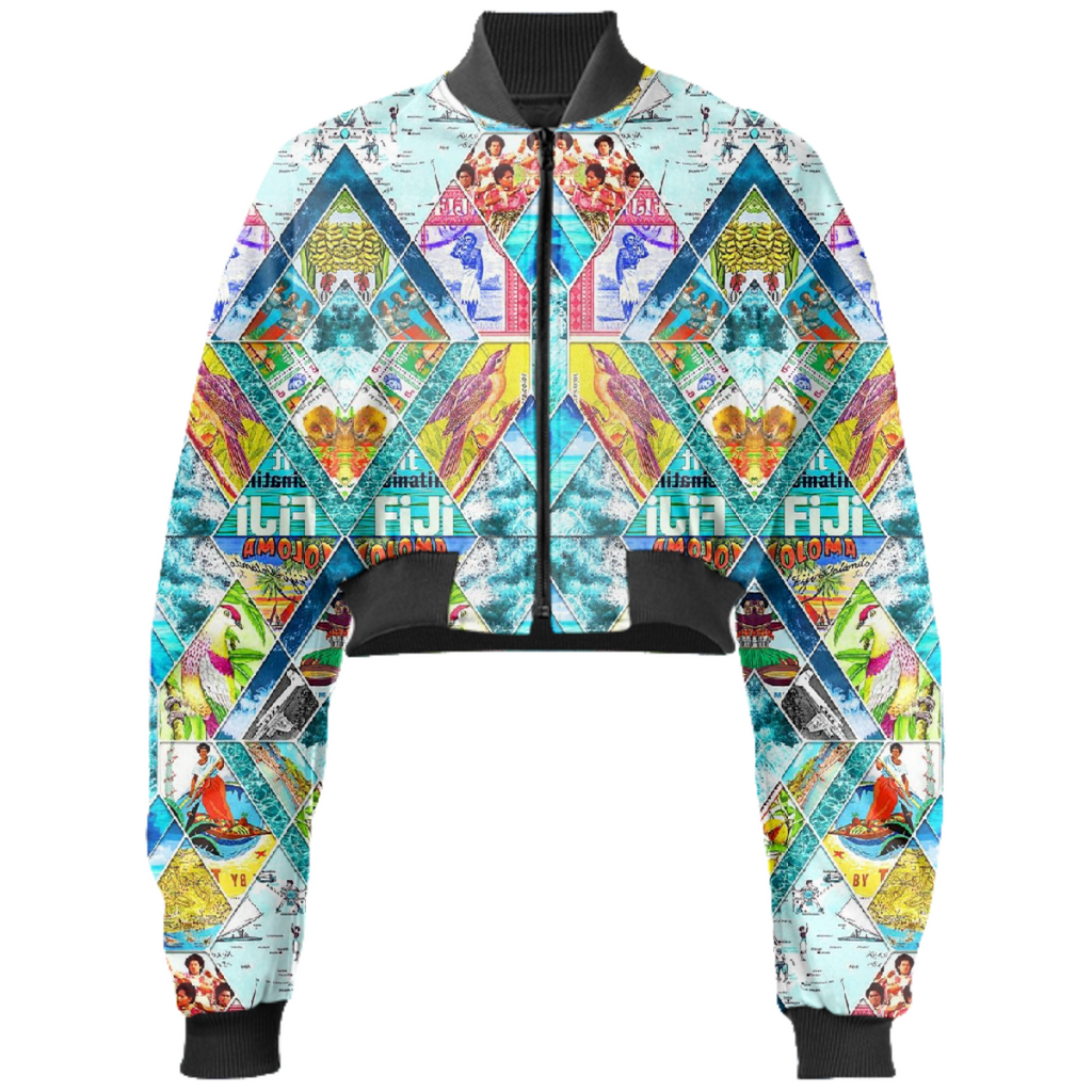 PAOM, Print All Over Me, digital print, design, fashion, style, collaboration, babyboofiji, Gabriel Held Cropped Bomber Jacket, Gabriel-Held-Cropped-Bomber-Jacket, GabrielHeldCroppedBomberJacket, Travel, Fiji, autumn winter, unisex, Neoprene, Outerwear
