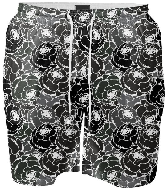 Vintage rose pattern black