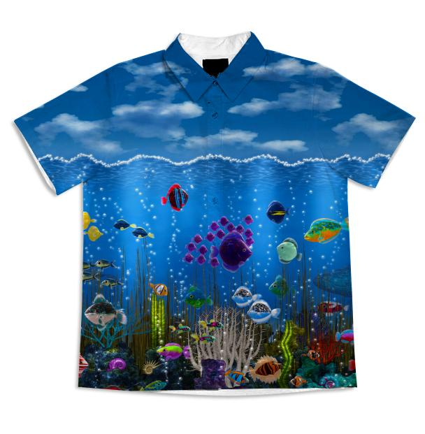 Underwater Love Short Sleeve Blouse