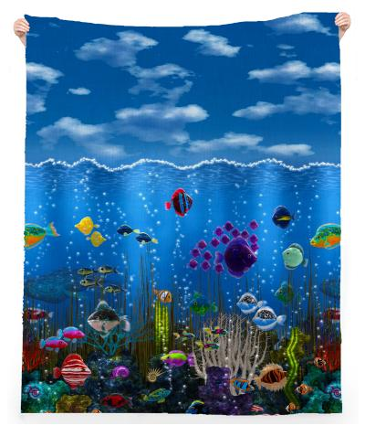 Underwater Love Linen Beach Throw