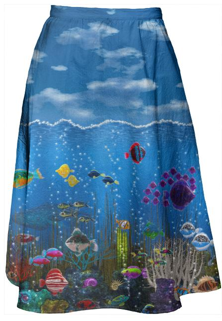 Underwater Love Midi Skirt