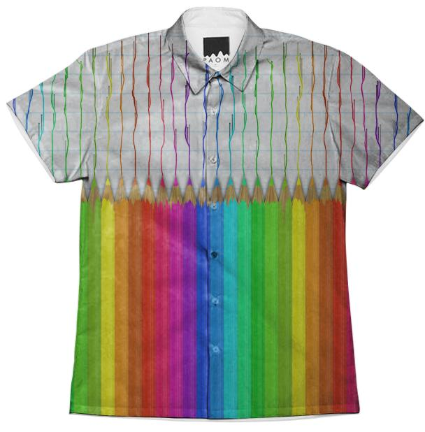 Melting Rainbow Pencils Short Sleeve Workshirt