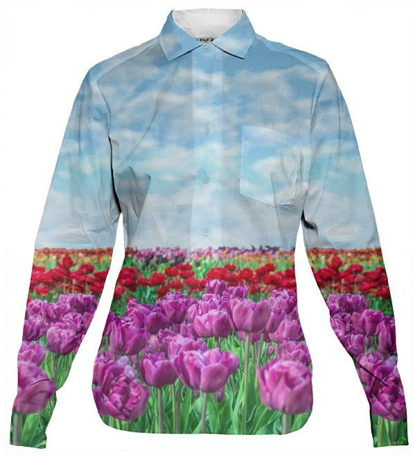 Tulip Field Women s Button Down