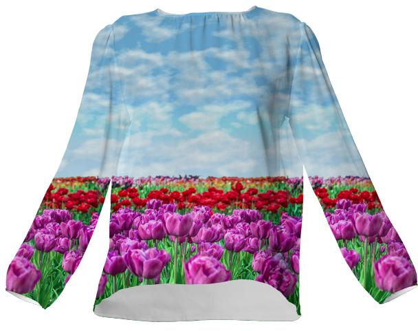 Tulip Field Silk Top