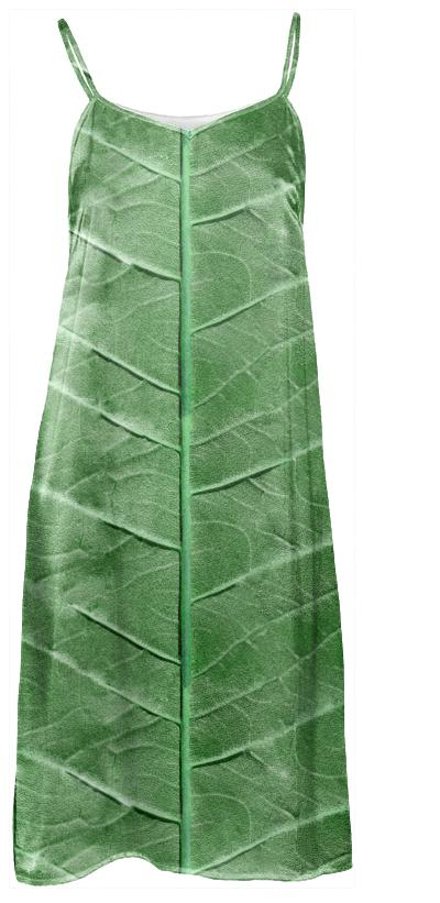 Veined Green Leaf Slip Dress