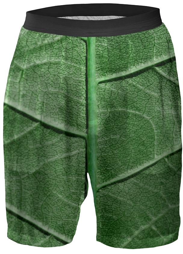 Veined Green Leaf Boxer Shorts