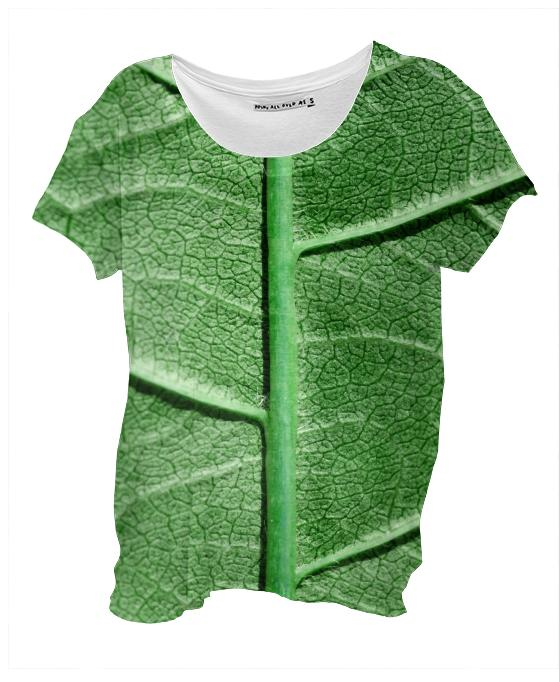 Veined Green Leaf Drape Shirt
