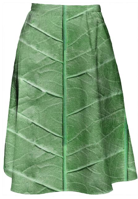 Veined Green Leaf Midi Skirt