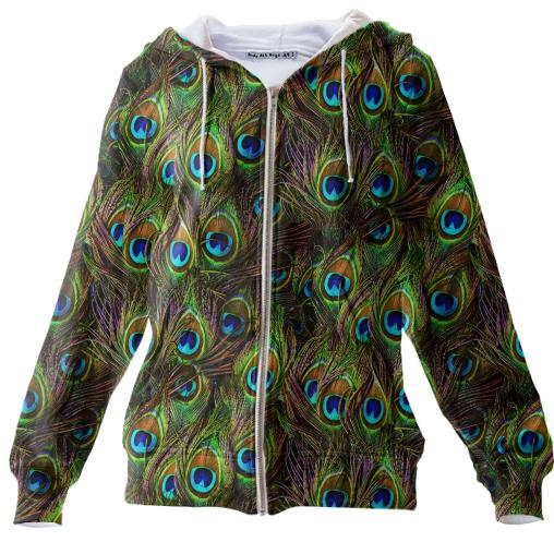 Peacock Feathers Invasion Zip Up Hoodie