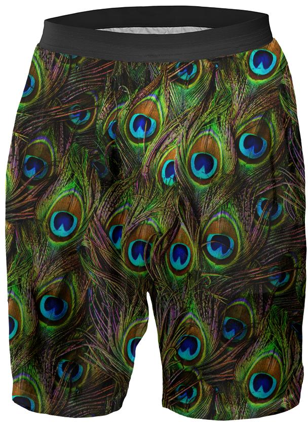 Peacock Feathers Invasion Boxer Shorts