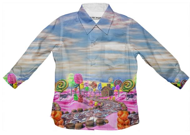 Pink Candyland Landscape Kid s Button Down Shirt Passcode DI469S8XL0