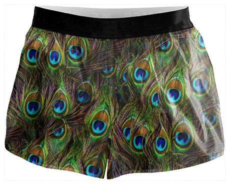 Peacock Feathers Invasion Running Shorts