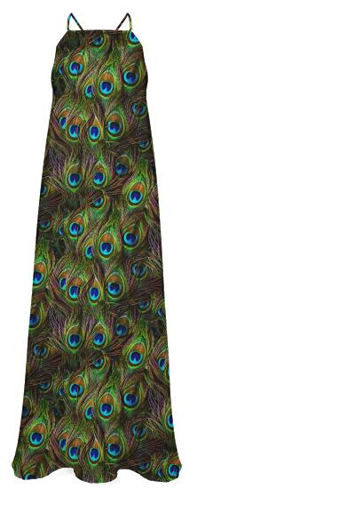 Peacock Feathers Invasion Chiffon Maxi Dress