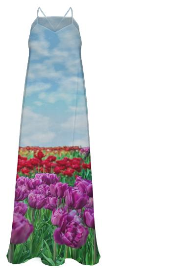 Tulip Field Chiffon Maxi Dress