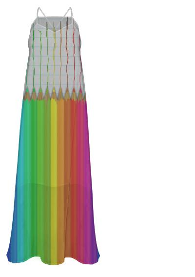 Melting Rainbow Pencils Chiffon Maxi Dress