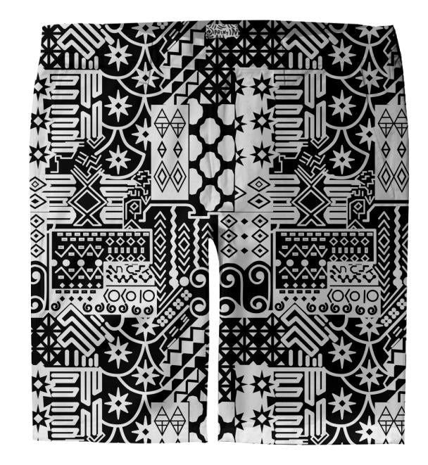 Black and white Geometric African Tribal Pattern Trouser Shorts