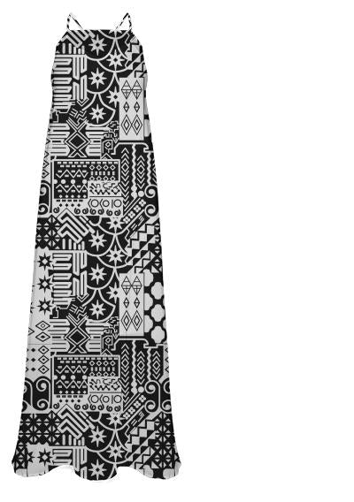 Black and white Geometric African Tribal Pattern Chiffon Maxi Dress