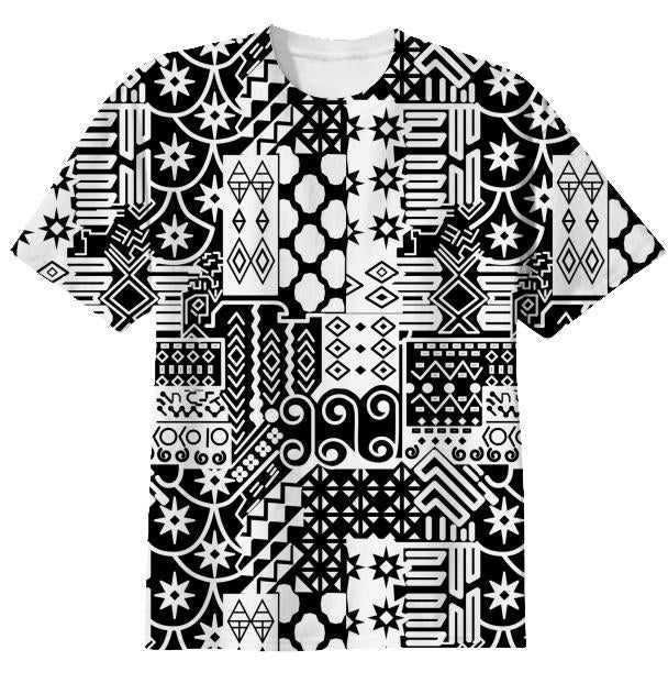 Black and white Geometric African Tribal Pattern T shirt