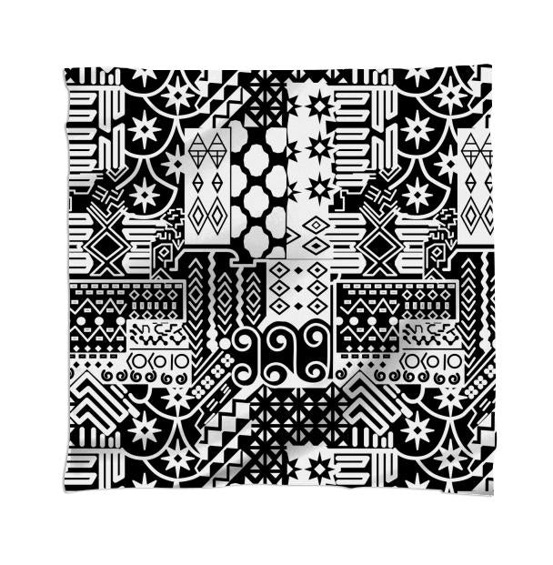 Black and white Geometric African Tribal Pattern Scarf