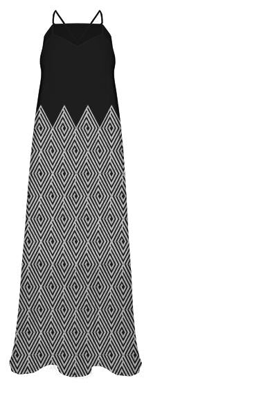 Zigzag Tribal pattern Chiffon Maxi Dress