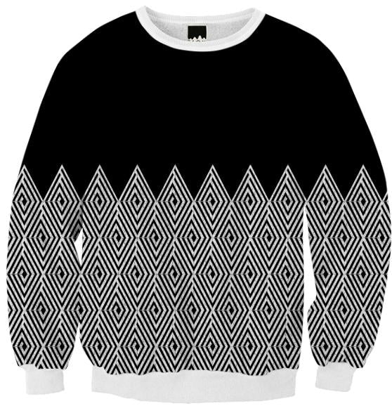 Zigzag Tribal pattern Ribbed Sweatshirt